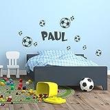 Wandtattoo Wunschname mit Fussbälle Fußball Sport Ball Bälle Wanddekoration Freizeit Hobby Kinderzimmer Name Fussballfan Kinderwelt Dekoration Design siehe Produktbeschreibung schwarz