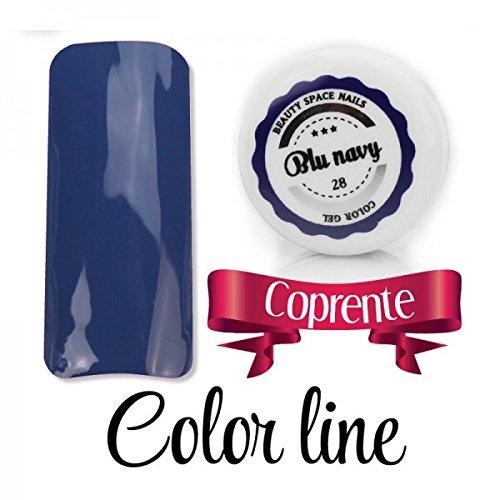 Color Line – Couleur couvrante et effet verre – Gel UV coloré 5 ml, reconstruction de faux ongles bleu marine