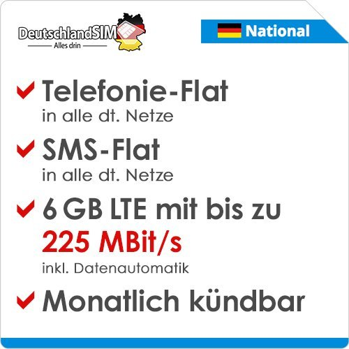 DeutschlandSIM LTE 6000 National [SIM, Micro-SIM und Nano-SIM] monatlich kündbar (19,99 Euro/Monat, 6 GB LTE mit max. 225 MBit/s inkl. Datenautomatik, Telefonie-Flat, SMS-Flat)