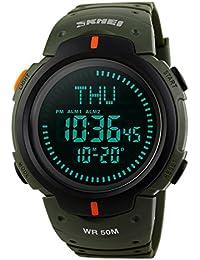 Beswlz Homme militaire Digital montre de sport extérieur étanche électronique armée LED Back Light écran Alarme Chronomètre avec boussole 50m résistant à l'eau pour homme–Vert