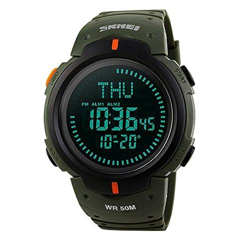 Beswlz Homme militaire Digital montre de sport extérieur étanche électronique armée LED Back Light écran Alarme Chronomètre avec boussole 50m résistant à l'eau pour