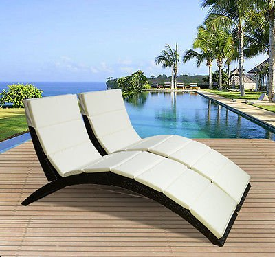 Outsunny garden patio outdoor pool 2 pc set rattan wicker for Outdoor pool bed