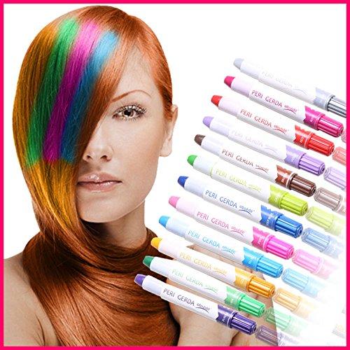 2 Haarstifte Haarfarbe Haarkreide Färben Haartönung Kreide Farben Hair Chalks, Farben:Violet / Purpur mit Glitzer