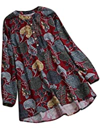 47497ca17994a Lazzboy Women Tops Blouse 3 4 Long Sleeve Ladies Floral Print Loose Casual  Slouch Shirt