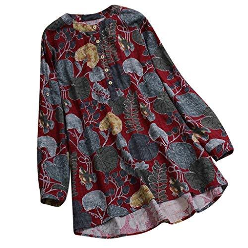 Dorical Damen O-Ausschnitt Lange Ärmel T-Shirt Floral Bedruckt Übergröße Tops/Lose Bluse Elegant Tunika Charmant Vintage Tops Hemdbluse/Damenbluse/Langarmshirt/Sweatshirt Sale(Rot,XX-Large)