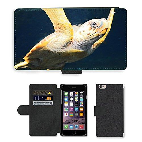 Just Mobile pour Hot Style Téléphone portable étui portefeuille en cuir PU avec fente pour carte//m00140171Tortue Animal Nature Slow Coque//Apple iPhone 6Plus 14cm