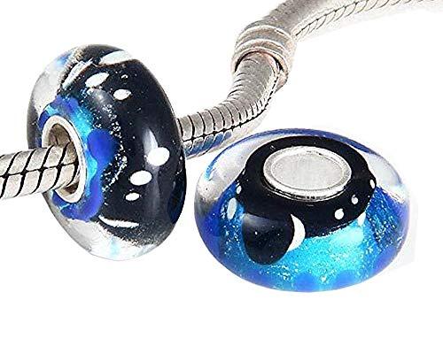 ANDANTE-Stones 925 Sterling Silber Murano Glas Bead Charm Nachthimmel Element Kugel für European Beads + Organzasäckchen -