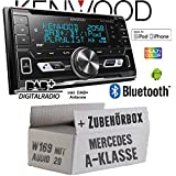 Mercedes A-Klasse W169 Audio 20 - Autoradio Radio Kenwood DPX-7100DAB - 2DIN Bluetooth DAB+ Digitalradio USB CD MP3 Einbauzubehör - Einbause