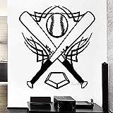 Adesivi Murali In Vinile Da Baseball Pipistrello Sport Palla Grande Decorazione Per Ragazzi Camera Adesivo 3D Poster Carta Da Parati Rimovibile Murale 42X43Cm