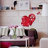 Wandaufkleber Wallsticker Ronaimck 3D Spiegel Liebe Herzen Wandaufkleber Aufkleber DIY Home Zimmer Kunst Wandbild Decor Removable (Rot)