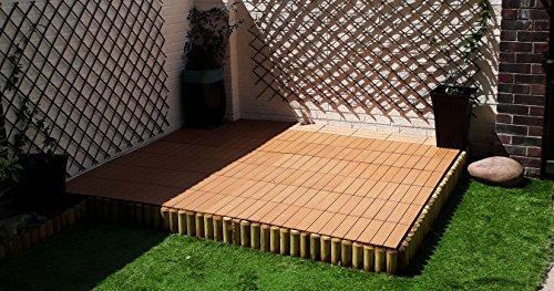 36piastrelle a incastro per pavimenti, in legno composito–teak a scatto per patio, giardino, balcone, vasca idromassaggio, con pannelli quadrati da 30 cm - 5