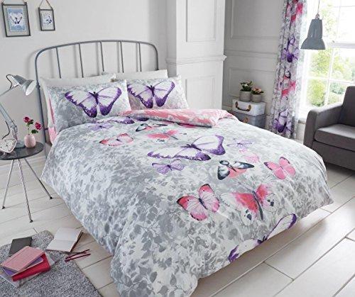 London Bedding - Parure de lit Luxueuse avec Housse de Couette réversible et taie d'oreiller Motif Pochettes Sombres Vert Tropique et Gris