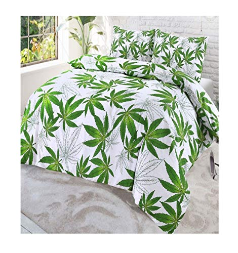 Bettwäsche-Set mit Digital-Punkten, Cannabis/Marihuana / Abby Blatt, Cannabis White Single, Einzelbett-Größe -