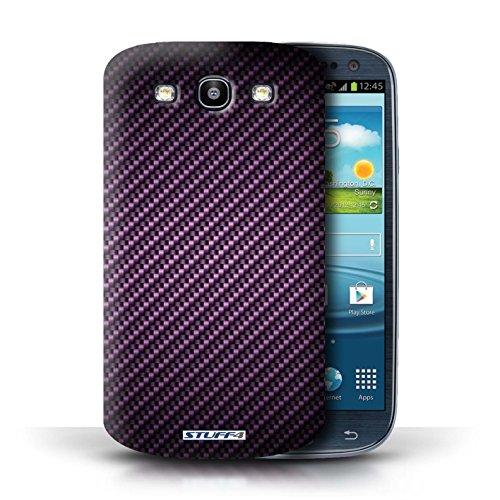 Hülle Case für Samsung Galaxy S3/SIII / Blau Entwurf / Kohlenstoff-Faser-Muster Collection Lila