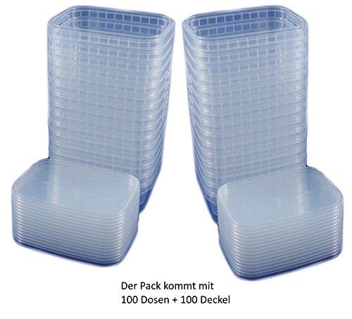 100x Universal Kunststoff Dose mit Deckel Industriestandard Rechteckig 280ml