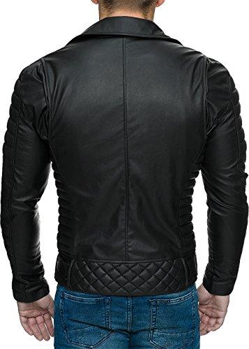 REICHSTADT Herren Jacke Bikerjacke pu oder Echt Leder Kunstlerder Freizeitjacke Biker Zipper Dope Swag Streetwear abnehmbarer Gürtel schwarz - RS001 PU - black zipper