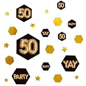 Neviti Glitz and Glamour 50 - Confeti decorativo, color negro y dorado