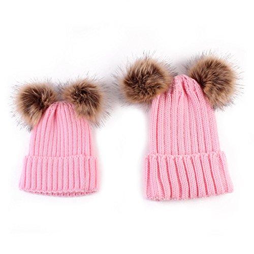 Outfits Und Passende Für Baby Mama (ECYC® Mom und Baby Stricken Hut Familie passenden Outfits Neugeborenes Baby Double Ball Winter Beanie Hut, Rosa)