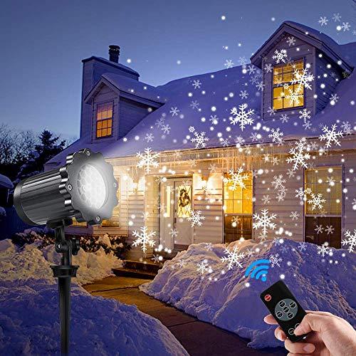 Led projektor weihnachten GreenClick LED Schneeflocke Projektor lichter outdoor mit Timing Fernbedienung und Schneefall 3 Modi IP65 wasserdichter für Außen und Innen Deko-8m Kabel/EU Adapter Beständig Remote