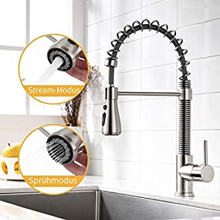 Amadi tap Kitchen Mixer taps, Kitchen Mixer tap, Shower, extendible Spiral Spring Fitting, Kitchen Sink Mixer tap Dish Rinse Mixer tap Brushed Nickel