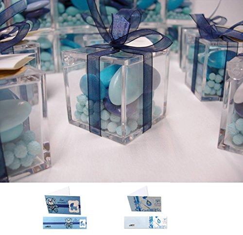 Irpot - 20 scatoline plexiglass 5cm + selection crispo celesti + mimose + bigliettini + nastrino organza blu