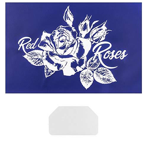 ruck-Schablone | Motiv + Schriftzug | 32,5 cm x 22,5 cm | selbstklebend | inkl. Rakel | ideal für Textil, Holz, Glas, Keramik, Papier (Rose | Red Roses) ()