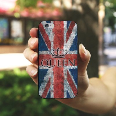 Apple iPhone X Silikon Hülle Case Schutzhülle Queen Großbritannien Flagge Union Jack Silikon Case schwarz / weiß