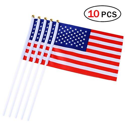 Bandiera dell'America con Bastone 5,5 x 8,3 Pollici / 14 * 21cm Set di 10 PCS Bandiere Piccola a Mano Mini Americana Flag
