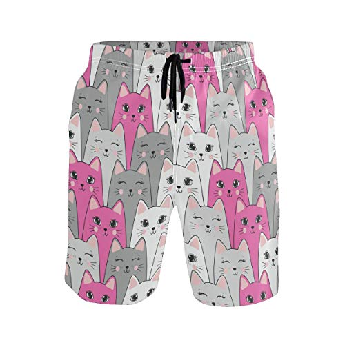 akingstore Nette Katzen-Muster-Karikatur-Tierbadehose für Mann-Jungen-schnelle trockene Strand-Kurzschlüsse mit Taschen