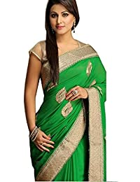 Krisha Creations Women's Silk & Georgette Saree With Blouse Piece (Bw1, Green, Free Size)