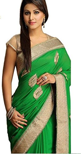 Women Embroidered Green Colour Georgette Saree With Blouse Material