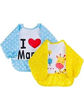 Lictin 2 Set Lätzchen mit Ärmeln Baby Lätzchen Ärmellätzchen Wasserdicht, für Baby innerhalb 20KG