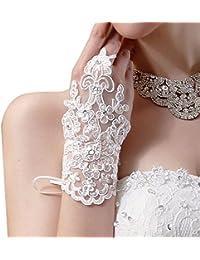 Kolylong Accessoires Robe Mariage Vintage Wedding Gants Robe De MariéE De SoiréE De Mariage Fingerless Rhinestone Dentelle De MariéE En Satin Gloves 17cm