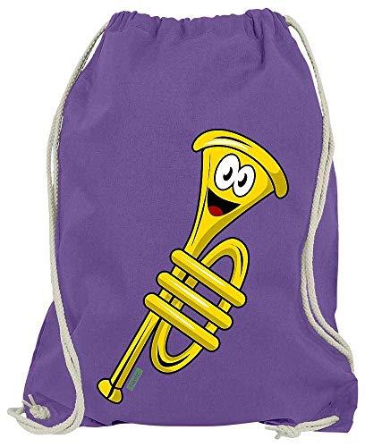 HARIZ Turnbeutel Trompete Lachend Instrument Kind Lustig Inkl. Geschenk Karte Lila One Size