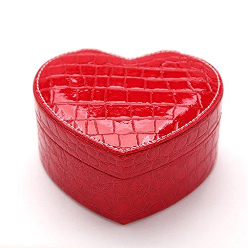 Étui cosmétique HWF Boîte à Bijoux Boîte de Rangement en Cuir en Forme de Coeur Organisateur (Couleur : A)