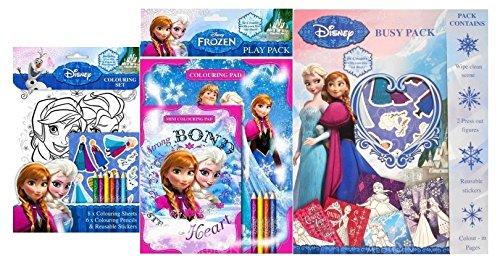 Set 3 Album Da Colorare Adesivi Colori Frozen Elsa Anna