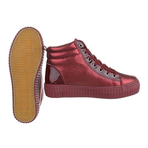 Ital-Design - Pantofole a Stivaletto Donna rosso vivo
