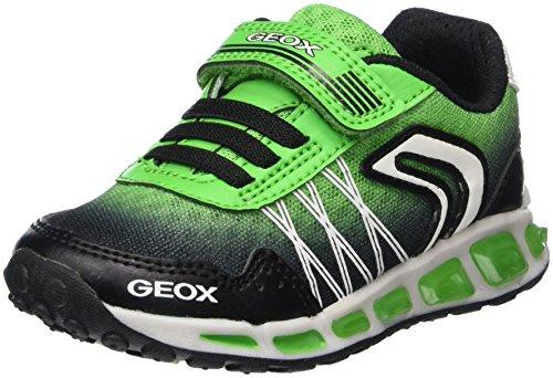 Geox Jungen J Shuttle Boy B Sneaker, Schwarz (Black/Green), 36 EU