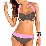 Uskincare Bikini et Maillot de Bain Deux Piece Taille Bas/Haute de superieure Qualite Agrandissant pour Femme, Rose et Gris, M