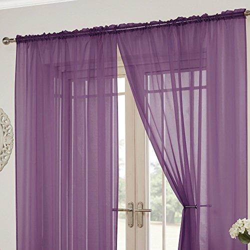 Tony's textiles lucy - tende a pannello trasparenti - attacco a passanti nascosti - tinta unita - viola - l 145 cm x lungh 206 cm