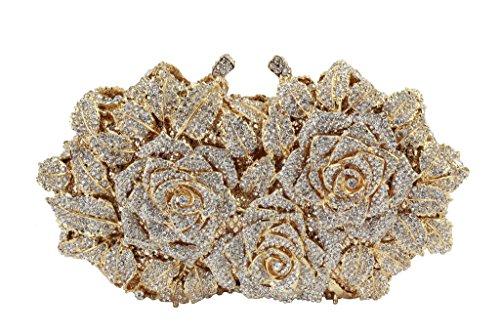 Yilongsheng Ladies soirée de bal Sacs à main avec Floral feuillu cristal or blanc