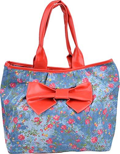 Cute Retro Vintage BOW Jeans Flower Schleifen Handtasche / BAG - Rot Rockabilly (Canvas-gürtel Schleife Tasche)