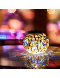 GRDE® Lámpara Solar cambiante del Color del Mosaico para Noche, Lámpara Cristal Impermeable para