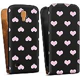 Samsung Galaxy S4 Active Tasche Schutz Hülle Walletcase Bookstyle Herzen Pink Muster