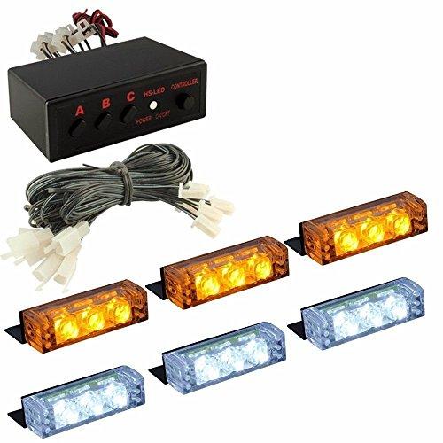 LanXi® 12V 6 LED Autolampe kennenzeichenbeleuchtung Einsatzfahrzeug Blitzleuchten Windschutz Stroboskoplicht Blitzleuchte Lichtbalken Blitzlicht (Gelb+Weiß)