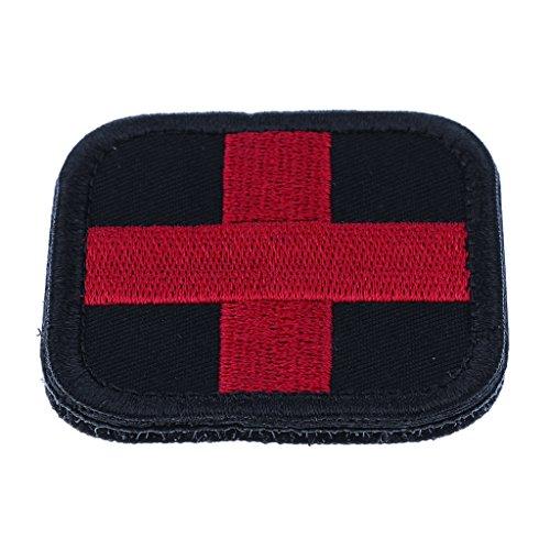 Gazechimp Erste Hilfe Rotes Kreuz Patches Aufkleber Klettverschluss (50 x 50mm) für Outdoor Camping Wandern Rucksäcke Taschen DIY Kleidung Patches - Schwarz (Abzeichen Patch Uniform)