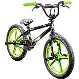 deTOX BMX 20 Zoll Rude Skyway Freestyle Bike Street Park Fahrrad viele Farben (schwarz/grün)