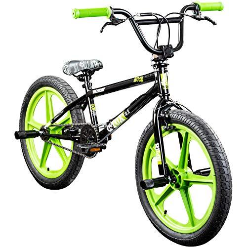 deTOX BMX 20 Zoll Rude Skyway Freestyle Bike Street Park Fahrrad viele Farben (schwarz/grün) - 20 Bike Bmx Zoll