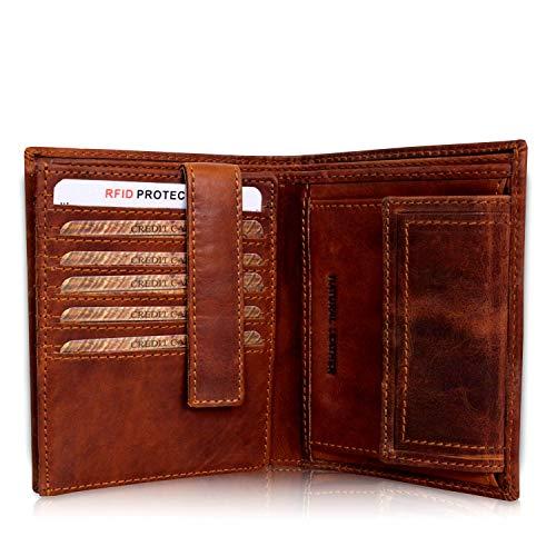Geldbörse Herren Leder mit TÜV-zertifiziertem RFID Schutz Portemonnaie Brieftasche Portmonee Vintage Geldbeutel mit Münzfach Wallet in Geschenk-Box Echt-Leder Kartenetui braun Corno d´Oro 30006NC - Top Leder Geldbörse