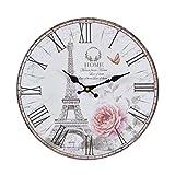 Wanduhr - Rose Paris - Holz Küchenuhr mit großem Ziffernblatt aus MDF, Retro Uhr im angesagtem Shabby Chic Design mit leisem Quarz-Uhrwerk, Ø: 32 cm